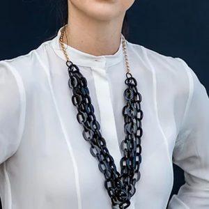 chunky multistrand black necklace