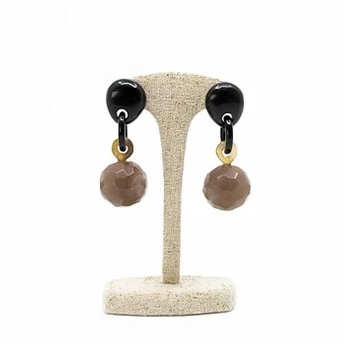 Statement Dangle Black & Brown Earrings
