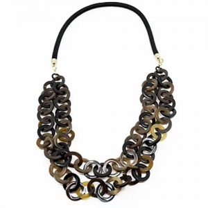 Two strand horn link necklace