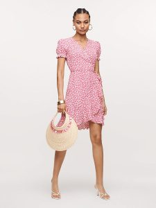 Elegant Pink Wrap Dress