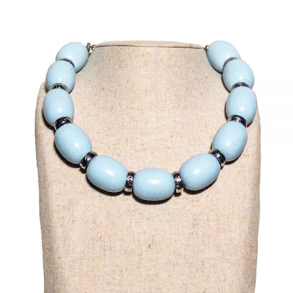 Oversized Chunky Blue Bead Necklace