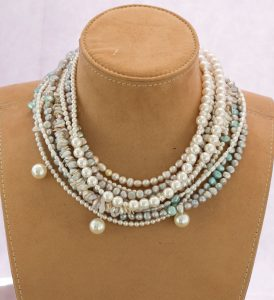 Multi-Strand Pearl Bib Necklace